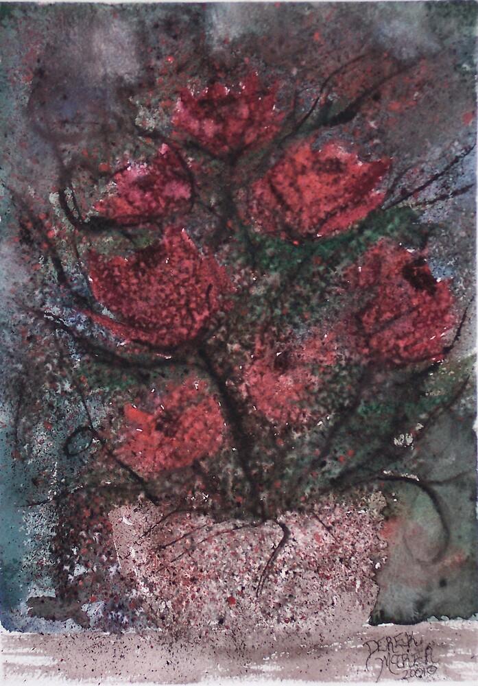 Roses at Night flower fine art poster print by derekmccrea