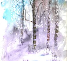 Winter landscape watercolor painting poster print by derekmccrea