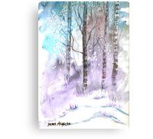 Winter landscape watercolor painting poster print Canvas Print
