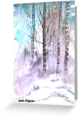 Winter landscape watercolor painting poster print by derekmccrea