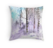 Winter landscape watercolor painting poster print Throw Pillow