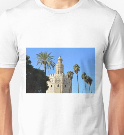 Golden Tower Torre del Oro on the banks of the Guadalquivir River. Sevilla. Andalusia. Spain. Unisex T-Shirt