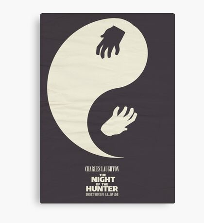 The Night of the Hunter, Fine Art Print, Movie Poster, Charles Laughton, Robert Mitchum, glicée, Alternative, Minimal, old film, classic Canvas Print