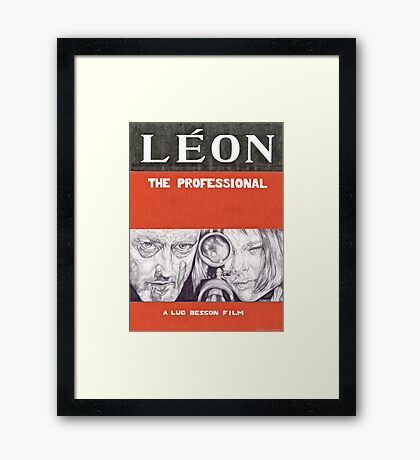 LEON hand drawn movie poster in pencil Framed Print