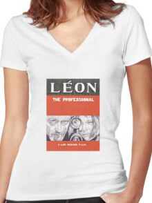 LEON hand drawn movie poster in pencil Women's Fitted V-Neck T-Shirt
