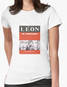 LEON hand drawn movie poster in pencil Womens Fitted T-Shirt