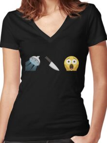 Psycho Emoji Graphic Women's Fitted V-Neck T-Shirt