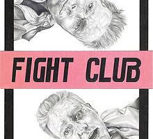 FIGHT CLUB hand drawn movie poster in pencil by theexiledelite