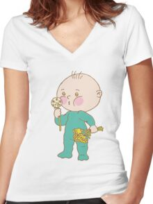 Baby Play With Toys Women's Fitted V-Neck T-Shirt