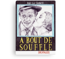BREATHLESS hand drawn movie poster in pencil Canvas Print