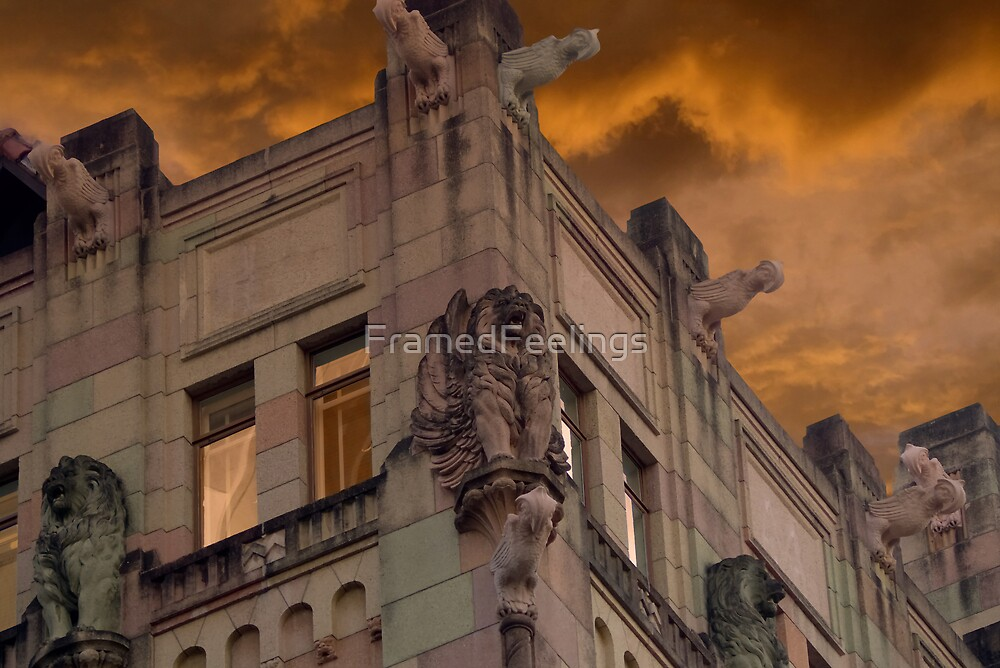 Gargoyle Sunset by FramedFeelings