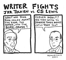 Writer Fights - Tolkien vs. Lewis Photographic Print