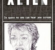 ALIEN hand drawn movie poster in pencil by theexiledelite