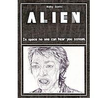 ALIEN hand drawn movie poster in pencil Photographic Print