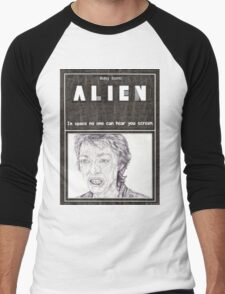 ALIEN hand drawn movie poster in pencil Men's Baseball ¾ T-Shirt
