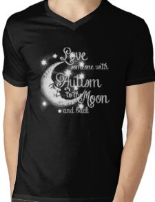 Love Someone with Autism to the Moon Mens V-Neck T-Shirt
