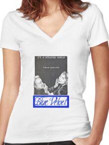 BLUE VELVET hand drawn movie poster in pencil Women's Fitted V-Neck T-Shirt