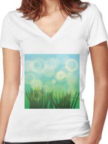 green grass  Women's Fitted V-Neck T-Shirt