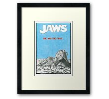 JAWS hand drawn movie poster in pencil Framed Print