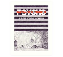 PSYCHO hand drawn movie poster in pencil Art Print