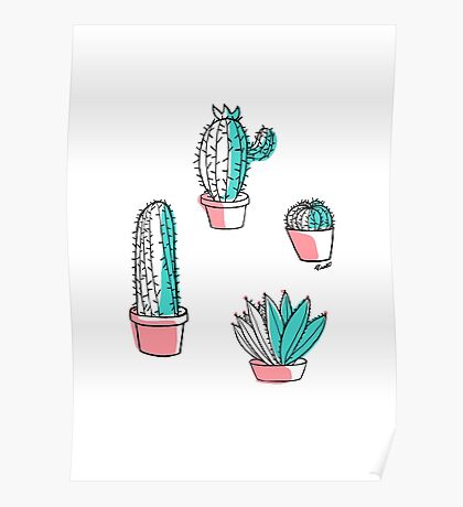 Colorful cactus Poster