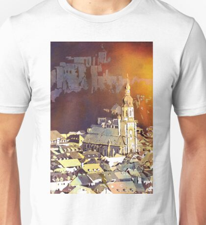 Heidelberg Church, Germany.  Watercolor painting Unisex T-Shirt