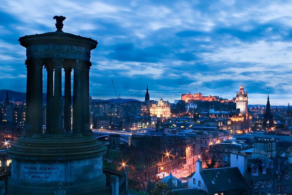 Dugald Stewart Monument & Edinburgh City by Chris Clark