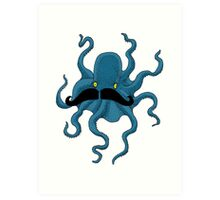 Octopus with a Mustache Art Print