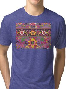 Purple Yellow Pink And White Flowers - Floral Pattern Graphic Print Tri-blend T-Shirt