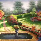Garden Behind Autumn's Gate Oil Painting by LesMoments Oil Painting