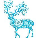 Turquoise blue Christmas deer by beakraus