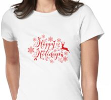 Happy Holidays, Merry Christmas Womens Fitted T-Shirt