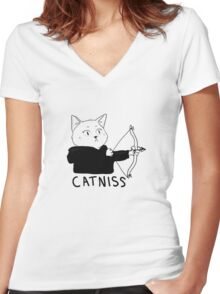 Catniss of District 12 Women's Fitted V-Neck T-Shirt