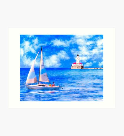 Sailing By Chicago Harbor Light - Lake Michicagan Art Print