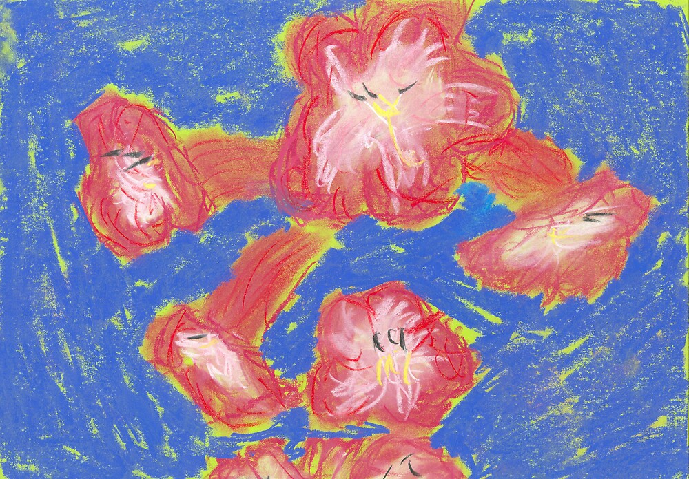 Red Flowers on a Blue background by RogueTrada