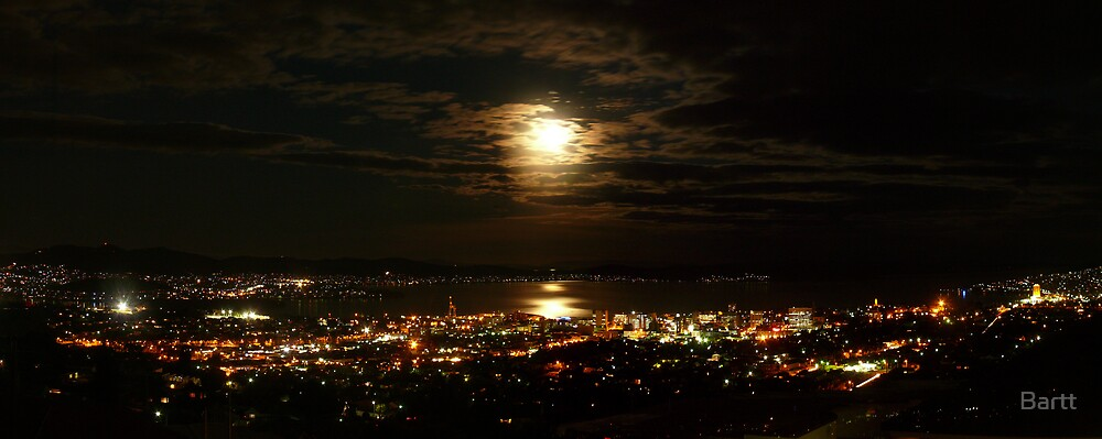 Moon Rise Over Hobart by Bartt