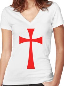 Long Cross - Knights Templar - Holy Grail - The Crusades Women's Fitted V-Neck T-Shirt