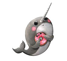 Cute Narwhal with donut Photographic Print