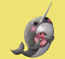 Cute Narwhal with donut Kids Clothes