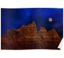 Blue Moon over Badlands National Park Poster