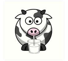 Cow Drinking Milk Art Print