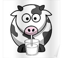 Cow Drinking Milk Poster