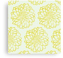Yellow dahlia pattern on white background Canvas Print