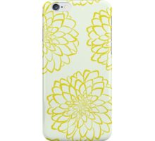 Yellow dahlia pattern on white background iPhone Case/Skin