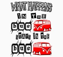What happens in the VW BUS stays. RED version Unisex T-Shirt