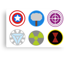 Avengers symbols-horizontal  Canvas Print