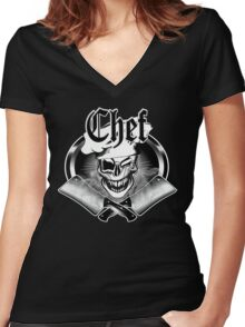Winking Chef Skull and Crossed Cleavers 7 Women's Fitted V-Neck T-Shirt