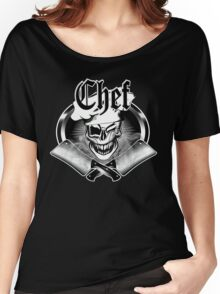 Winking Chef Skull and Crossed Cleavers 7 Women's Relaxed Fit T-Shirt