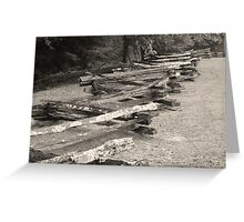 Old fence in black & white Greeting Card