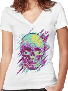 Bright Skull Women's Fitted V-Neck T-Shirt
